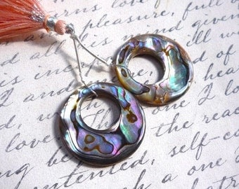 Abalone Matched Pair Circle Hoop Briolette Bead 30mm