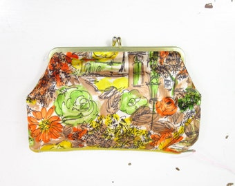 1960s Floral & City Satin Print Mini Clutch