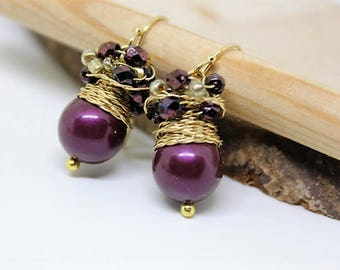 Purple earrings, Cluster earrings with eggplant color glass beads, birthday jewelry, fresh earrings
