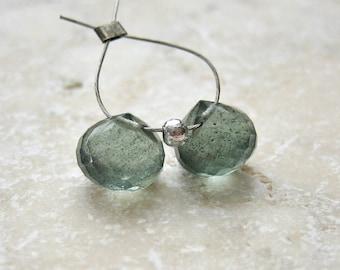 Moss Aquamarine Gemstone Onion Briolette Beads 7.5mm - Matched Gemstone Pair