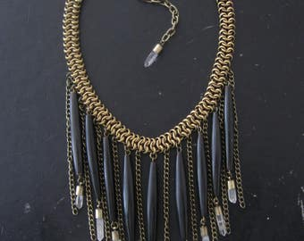 Tribal Inspired Bib Statement Necklace - Black Bone Pipes Brass and Quartz Crystals