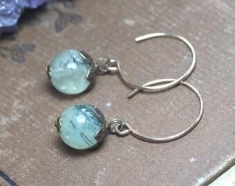 Prehnite Earrings Green Gemstone Earrings Rustic Jewelry Green Earrings