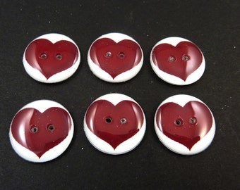 "6 Burgundy Decorative Craft Heart Buttons.  Novelty Heart Sewing Buttons. 3/4"" or 20 mm Round. Handmade By Me.  Washer and Dryer Safe."