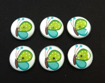 6 Butterfly Buttons. Green and Turquoise blue  Butterfly Handmade Buttons for sewing. Decorative Craft Novelty Sewing buttons.