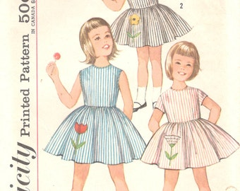 Simplicity 4878  1960s Girls Dress Pattern Full Skirt  Childs  Vintage Sewing Pattern  Size 5 Breast 23