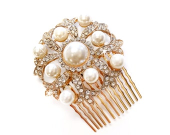 Hair Comb - Gold with Ivory Pearls - Vintage Style Hair Piece - Bridal Comb - Wedding Hair Comb - Rhinestone Brooch - Wedding Hairpiece