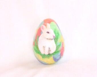 Easter Egg, Needle Felted Easter Egg - White Bunny Rabbit - Rainbow Colored Egg - Easter Decor - Easter Gift - Felt Easter
