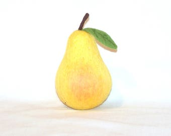 Needle Felted Pear - Life Size Felted Fruit - Bartlett Pear with Leaf - Needlefelt Pear - Home Decor - Play Food - Gift - Soft Sculpture