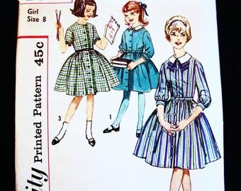 Vintage Girls Dress Pattern size 8 Girls Full Skirt Button Dress Sewing Pattern UNCUT FF