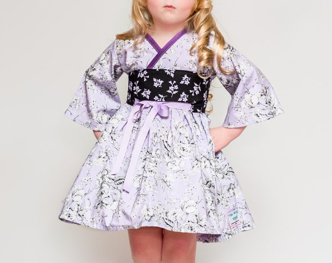 Purple Dress Girls - Boutique Dresses - Toddler Clothes - Kimono Dress - Girls Birthday Dress - 12 months to 14 years