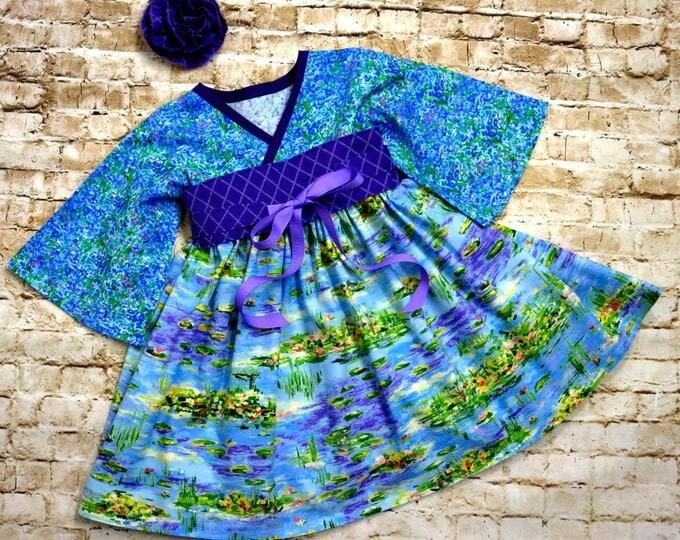 Lily Pond Dress - Girls Twirl Dress - Toddler Spring Dress - Blue - Birthday Party - Little Girls Kimono Dress - Preteen - 2T to 14 yrs