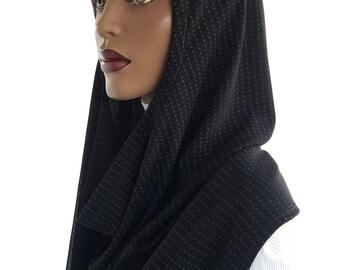 Koul SHôl™ Head Hoodie Grey Dots Black Mesh Knit Cowl Hoodie Fully Lined Veil Devotional Head Hoodie Veil Hoodie Hijab Hoodie Handmade
