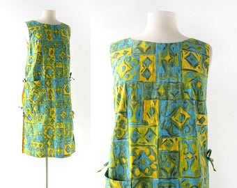 1960s Shift Dress | Positano | Cotton Summer Dress | 60s Dress | S M