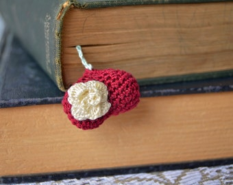 Handmade Bookmark, Crocheted Bookmark, Red Heart Bookmark, Book Lover Gift, Heart Shaped, Valentines Gift, 3d Fluffy Heart, Puffy Heart Rose