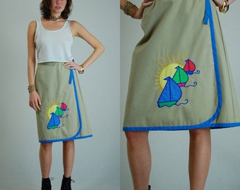 Wrap Skirt Vintage 70s Tan Patchwork Summer Sailboats Wrap Around Hippie Skirt (s m)