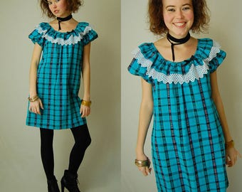 Plaid Mini Dress Vintage 60s Turquoise + Black Madras Plaid Lace Preppy Boho Tent Mini Dress (s)