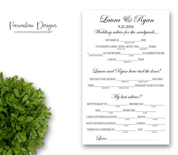 Wedding Mad Libs | Advice for the Bride and Groom | Mad Libs |  Wedding Advice Cards | Reception Cards | Bridal Shower Mad Libs {FS03}