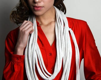 Oatmeal White Scarf, Long Scarf, Necklace, Men's, Womens, Soft, Jersey Cotton