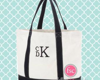 Monogrammed tote bag , canvas and BLACK tote bag, beach bag, teacher tote, monogrammed beach bag, girls tote , kids personalized tote