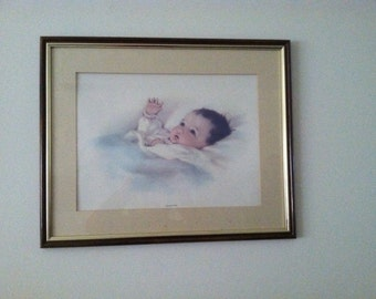 Vintage Bessie Pease Gutmann Baby Art Prints 'Awakening' 'A Little Bit of Heaven' Vintage 30s