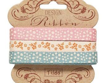 Tilda Ribbon, Spring Diaries Ribbon, Set of 3 different Tilda ribbons,  2 metres x 10mm, 6 metres in total