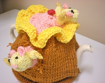 Tea Cosy/Tea Cozy/Mother's Day Gift/Hand Knit Mice Tea Cozy/Knitted Mother's Day/Mice Tea Cosy/Knit Tea Cosy/Mouse Mother's Day Gift/Tea