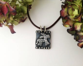 dog pendant, sterling silver, tribal pendant, tribal dog motif, dog lover jewelry, ready to ship