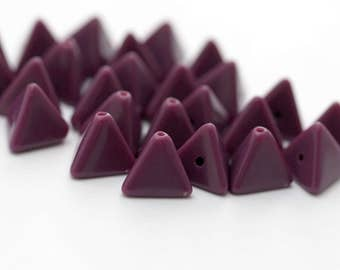 Vintage Opaque Purple Eggplant Lucite Triangle Beads 11mm (20)