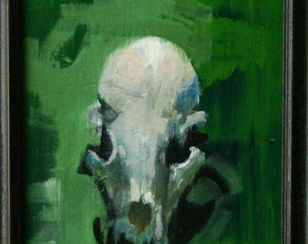 Still Life Oil Painting Realism Skull Original Art Green And White By Bobbie Jansen On Etsy
