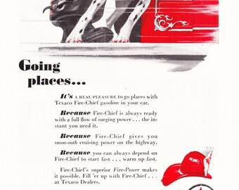 1940s Texaco Gasoline Advertisement - Fire Chief Dalmation Vintage Antique Retro 40s Era Pop Art Ad for Framing