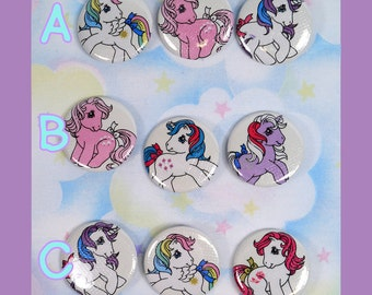 Pin back buttons made with upcycled My Little Pony fabric