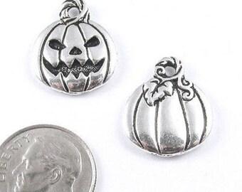 TierraCast Pewter Halloween Charms-Silver JACK O'LANTERN PUMPKIN (2)