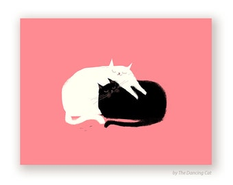 Love Pile - Love Card - Love You Cat Card- Black & White Cat