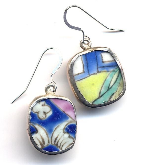 Asymmetrical Ceramic Earrings, Antique Pottery Earrings in Yellow Blue Green and White on Sterling Silver ear wire, OOAK pottery Earrings