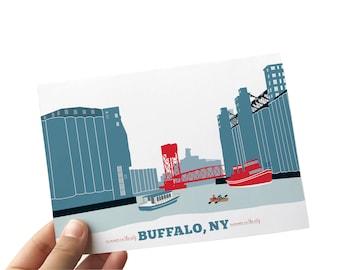 buffalo, ny ohio street print, buffalo ny summer print, buffalo, silos, grain elevators, silo city, eco-friendly