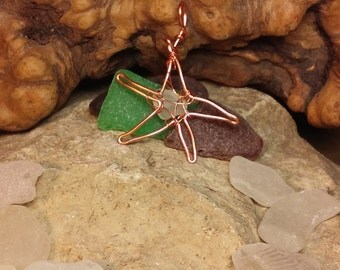 Star ornament - sea glass wire wrapped Christmas tree ornament - sun catcher