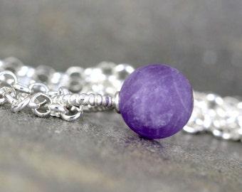 Matte Amethyst Pendant - Rustic Amethyst Necklace - Sterling Silver Layering Necklace - Purple Gemstone Pendant - February Birthstone