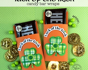 KIT St. Patrick's Day Candy Bar Wraps /Party Favor / Hershey Chocolate Bar /Gift Wrapped Treat / Lunchbox Treat / Teacher Appreciation