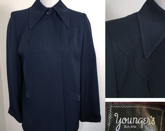 Vintage 1940s Black Wool Swing Jacket SZ M