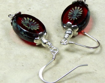 Red Czech Glass Dangle Earrings, Czech Earrings, Sterling Silver Earrings, Boho Earrings, Unique Earrings, Gifts For Her, Unique Jewelry
