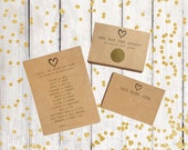 Heart Bridal Shower Games - Wedding Games Package - Gold Scratch Off & Advice Cards - Set of 3 Bridal Shower Games in Kraft - 15 Guests