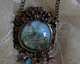 Birdies In A Nest Assemblage Charm Necklace - Birdies In A Bubble