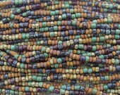 Rustic Opaque Aged Picasso Mix Czech Glass 4mm Tile Beads and 6/0 Czech Glass Seed Beads - 20 Inch Strand (AW297)