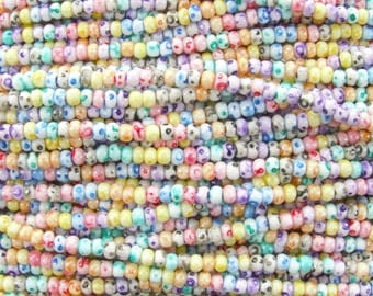 6/0 TIE DYE Terra Colorfast Mix Czech Glass Seed Bead Strand (CW157) SE