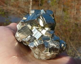 Pyrite Cluster #4 ~ 84 grams, Natural Stone, Spanish Pyrite, Pyrite Cluster, Energy Stone, Crystal Healing, Metaphysics, Meditation, Reiki