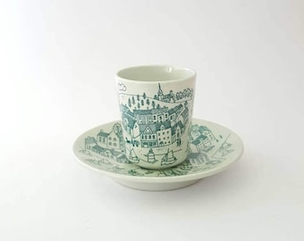 Nymolle Art Faience Hoyrup Demitasse Cup and Saucer, Made in Denmark
