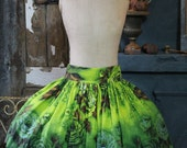 Tutu Skirt Ombre Dip Dyed Cabbage Rose Lime Green Mocha Black Original 1950's Bark Cloth Exposed Metal Zip Ties Deep Waistband Size 12 - 14