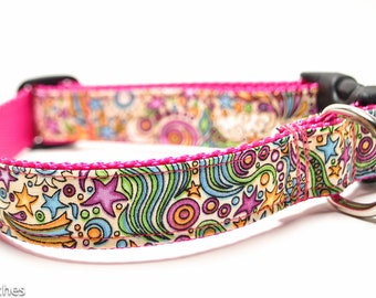 Sun Moon Stars Pink Dog Collar / Luna in Magenta / Martingale or Buckle / Celestial Dog Collar