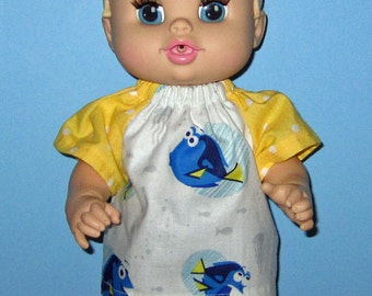 Corolle Tidoo, Corolle Calin Doll Clothes,  Baby Alive All Gone Doll Clothes, 12 or 13 inch Doll Clothes, Finding Dory Short , Yellow, Blues