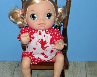 Baby Alive Go Bye Bye Doll Clothes, Cupid Polka Dot Set,  Fits 15 16 Inch Doll,   Doll Clothes Handmade Made in USA, Red and White